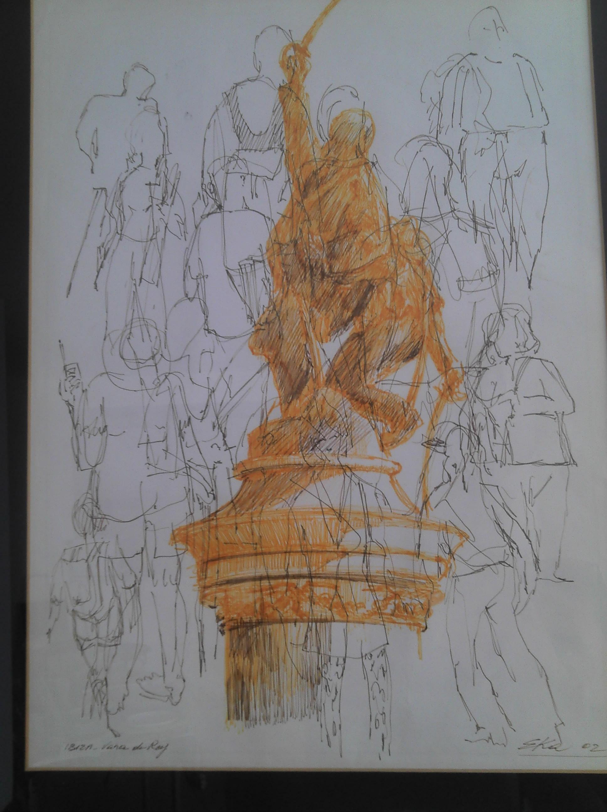 Dibujo de Eka, artista hippy y bohemio afincado en Formentera